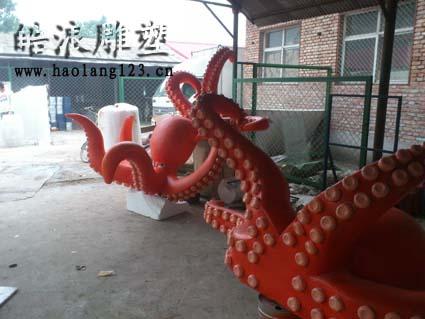 山西灵石海洋馆玻璃钢烤漆雕塑,泡沫pu雕塑竣工
